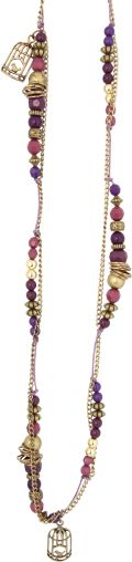 Anna Nova Purple & Pink Bird Cage Necklace and Earrings
