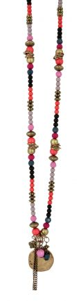 AnnaNova Pilgrim Aged Gold and Colours of Summer Necklace - Pink